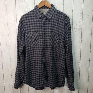 James Campbell Men's Black Gray Checkered Button